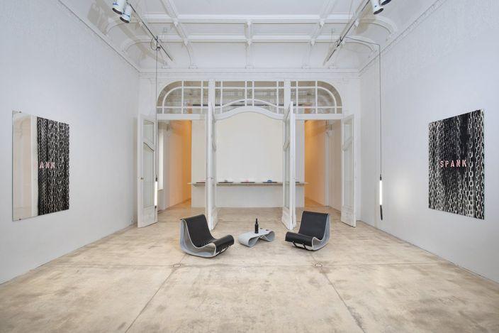 Exhibition view: Monica Bonvicini, STAGECAGE, Galerie Krinzinger, Vienna (1 September–30 October). CourtesyGalerie Krinzinger.