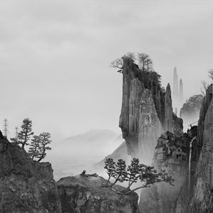Time Immemorial - The Cliff 太古蜃市-懸崖 by Yang Yongliang contemporary artwork