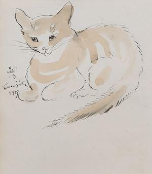 Chat by Léonard Tsuguharu Foujita contemporary artwork