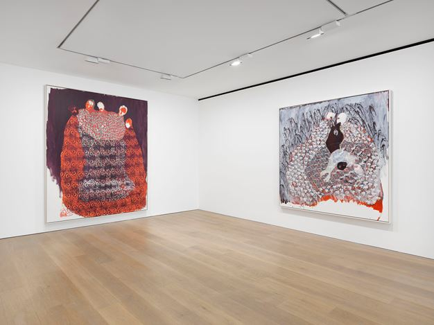 Exhibition view: Portia Zvavahera, Ndakavata pasi ndikamutswa nekuti anonditsigira, David Zwirner, London (15 September–31 October 2020). Courtesy David Zwirner.