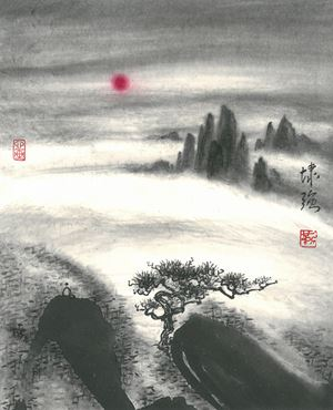 Viewing Sun on Cloudy Peak by Kan Tai Keung contemporary artwork