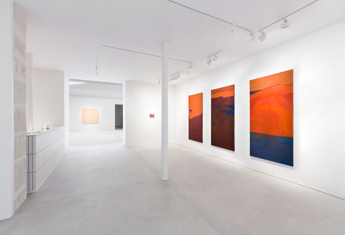 Exhibition view: Group Exhibition, Horizons, curated by Etel Adnan, Lévy Gorvy, Paris (30 January–20 March 2021). Courtesy Lévy Gorvy. Photo: Arthus Boutin.