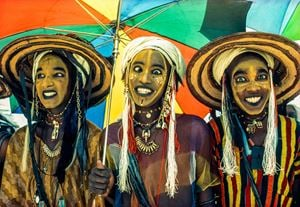 Three Wodaabe Male Charm Dancers, Niger by Carol Beckwith & Angela Fisher contemporary artwork