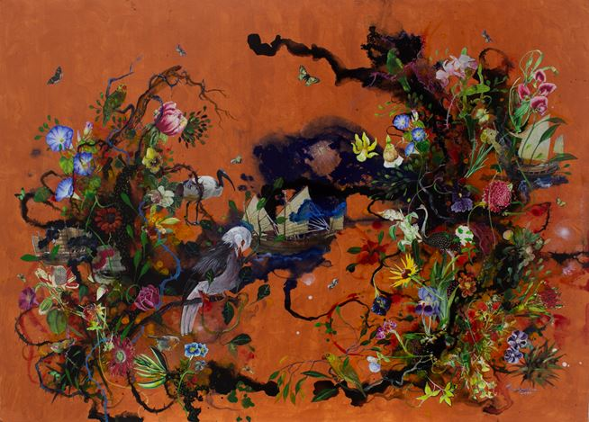 Priyantha Udagedara, Serendib 13, Mixed Media on Board, 113cm x 82cm. Courtesy Saskia Fernando Gallery.
