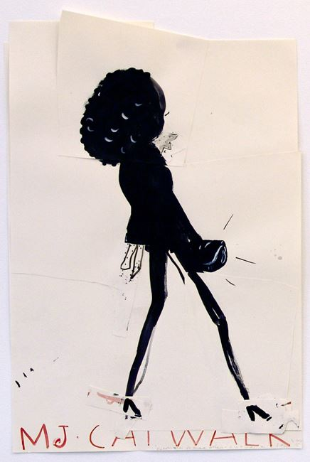 Cat-Walk Girl by Rose Wylie contemporary artwork