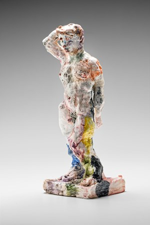 Statue (standing, arm raised) by Stephen Benwell contemporary artwork