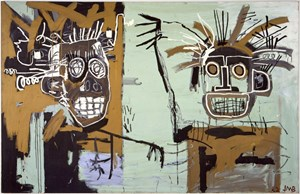 Untitled (Two Heads on Gold) by Jean-Michel Basquiat contemporary artwork