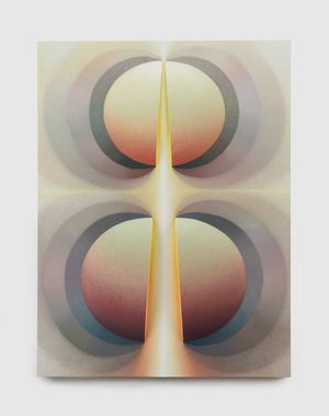 Split orbs in metal and sunrise by Loie Hollowell contemporary artwork