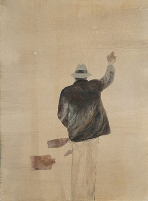 Untitled [suit and hat man hailing] by Summer Mann contemporary artwork