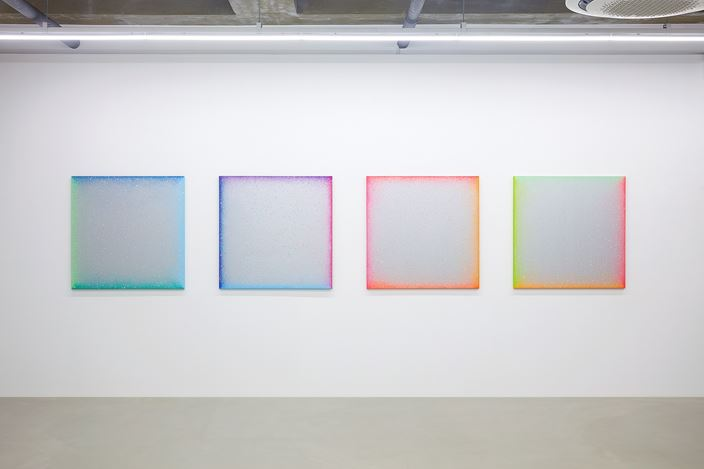 Heewon Oh, Dew Shadow (spectrum) #04 (2019). Acrylic on silver paint canvas. 97 x 97 cm. Courtesy One Four, Seoul.