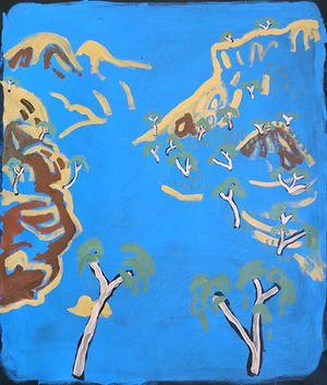 Water flowing in Orminston Gorge (Kwartatuma) in West MacDonnell Ranges (Tjoritja), Western Arrarnta by Zak Tilley contemporary artwork