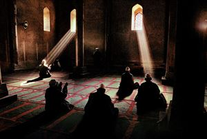 Men praying in a mosque, Srinagar, Kashmir by Steve McCurry contemporary artwork