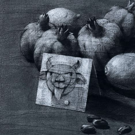 Youssef Abdelke, Still Nature(2013) (detail).Charcoal on paper. 100 x 40 cm. Courtesy Galerie Tanit.