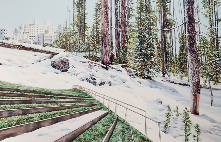 Kevin Chin, Green Spaces, (2020). Oil on linen, 113 x 174cm. Courtesy THIS IS NO FANTASY dianne tanzer + nicola stein