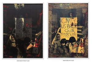 Give us back our parents (pink and gold on black) by Hank Willis Thomas contemporary artwork