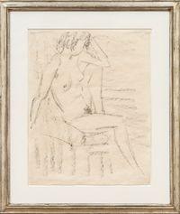 Sitzender weiblicher Akt by Otto Mueller contemporary artwork works on paper