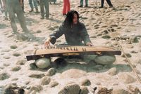 Playing a Stringed Instrument towards the Water by Ji Yu contemporary artwork performance