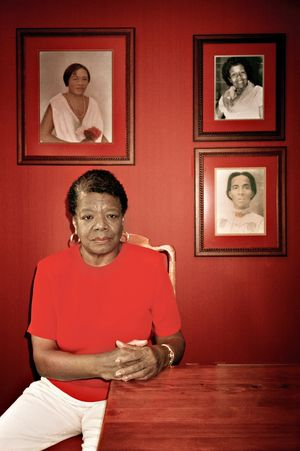 Four Generations   Maya Angelou in her home, surrounded by portraits of her mother, Vivian Baxter (top right); her grandmother Annie Henderson (top left) and her great grandmother Kentucky Shannon.Winston-Salem, N.C., USA by Margaret Courtney-Clarke contemporary artwork