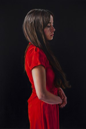 Photogénie - Figure in Red (Number 4 from a series of 12 paintings) by David O'Kane contemporary artwork