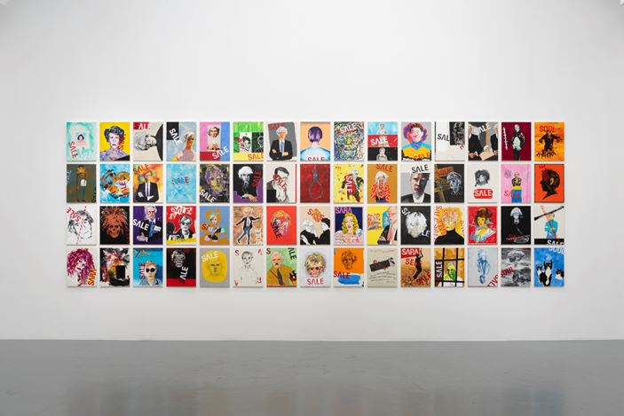 Installation view: Tadanori Yokooo, B29 and HomelandーFrom My Childhood to Andy Warhol, SCAI THE BATHHOUSE, Tokyo (31 May–6 July 2019). Courtesy the artist and SCAI THE BATHHOUSE. Photo: Norihiro Ueno.