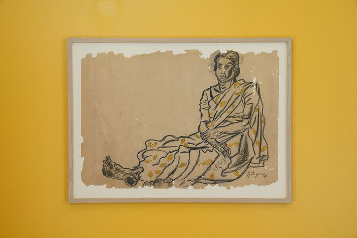 V.N. Jyothi Basu,Untitled (1986). Charcoal and paint on paper. 61 x 86 cm. Exhibition view:Portraits andLandscapes on Paper,Galerie Mirchandani + Steinruecke, Mumbai (13 July–24 August 2018). Courtesy Galerie Mirchandani + Steinruecke.