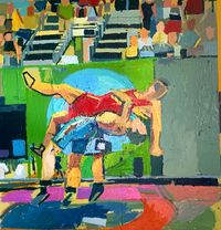 Olympic Wrestlers #3 by Clintel Steed contemporary artwork painting