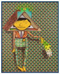 Taking the dog for a walk by OSGEMEOS contemporary artwork mixed media