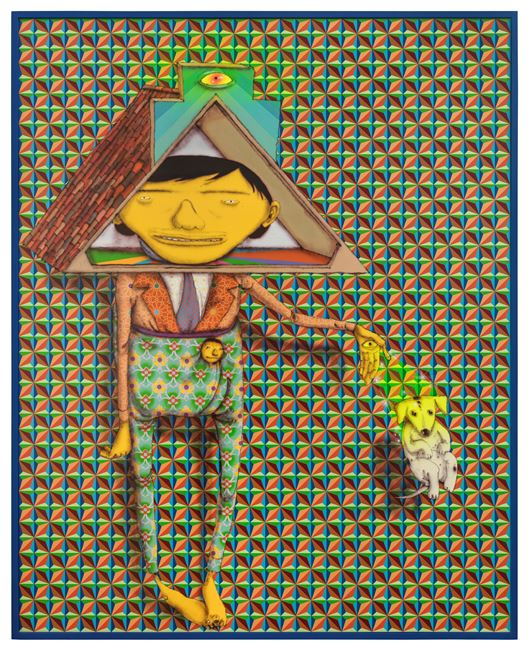 Taking the dog for a walk by OSGEMEOS contemporary artwork