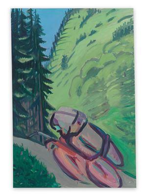 Motorrad im Wald / Motorradfahrer (Motorcycle in the Forest / Motorcyclist) by Maria Lassnig contemporary artwork