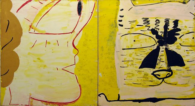 Plastic Bride Profile & Cat by Rose Wylie contemporary artwork