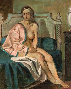 Nu à la veste rose by Balthus contemporary artwork