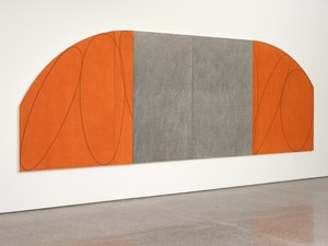 Orange/Grey Four Panel Zone Painting by Robert Mangold contemporary artwork