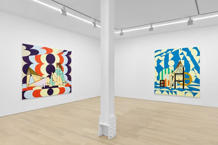 Exhibition view: Farah Atassi, Paintings, Almine Rech, New York (20 June–26 July 2019). © Farah Atassi. Courtesy the Artist and Almine Rech. Photo: Matthew Kroening.