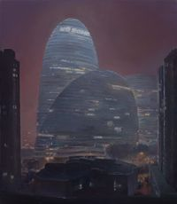 Wang Jing Soho in the Haze 霧霾夜的望京 by Lu Liang contemporary artwork painting