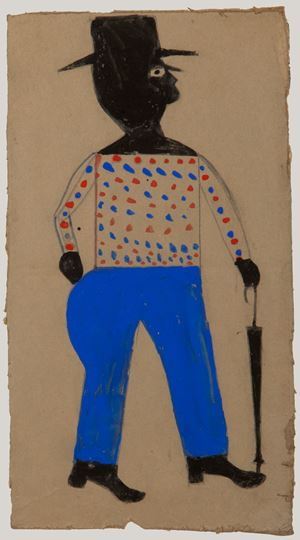 Man with Spotted Shirt, Hat, and Umbrella by Bill Traylor contemporary artwork
