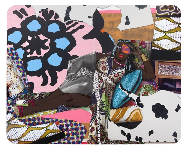Qusuquzah Lounging with Pink + Black Flower by Mickalene Thomas contemporary artwork