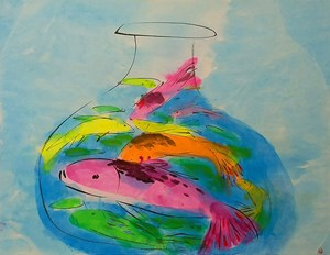 Free as a Fish by Walasse Ting contemporary artwork