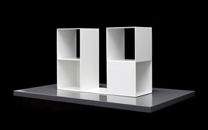 2/2 Two two-part pieces using a cube with opposite sides removed by Sol LeWitt contemporary artwork