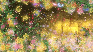 Flowers and People – Gold (still) by teamLab contemporary artwork