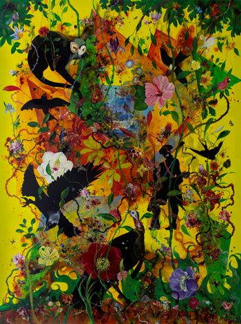 Priyantha Udagedara, Serendib 2, Mixed Media on Canvas, 199cm x 153cm. Courtesy Saskia Fernando Gallery.