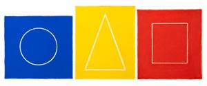 Blue Circle, Yellow Triangle, Red Square by David Nash contemporary artwork