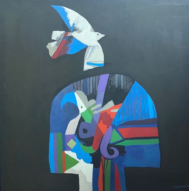Bird Decorated in Blue (Al Ta'er Al Muzayan bil Azrak) by Dia Al-Azzawi contemporary artwork