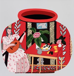 Red Pot with Lute Player #2 by Jonas Wood contemporary artwork