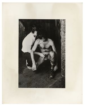 The Piers (two men squatting, handjob) by Alvin Baltrop contemporary artwork
