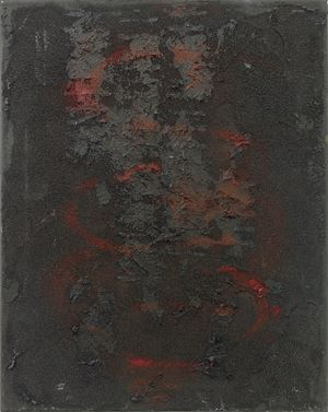 intestine, black, red, vertical by Henrik Olesen contemporary artwork