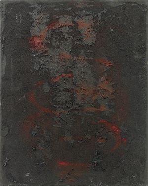 intestine, black, red, vertical by Henrik Olesen contemporary artwork