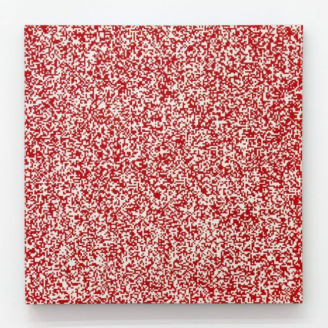 Répartition aléatoire de 40 000 carrés suivant les chiffres pairs et impairs d'un annuaire de téléphone, 50% rouge, 50% blanc by François Morellet contemporary artwork