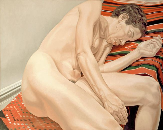 FEMALE MODEL RECLINING ON INDIAN RUG by Philip Pearlstein contemporary artwork