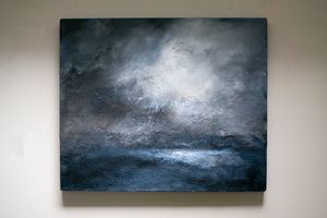 Moonlight over Brindister Voe by Janette Kerr contemporary artwork