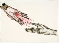 On your hand – I place my hand – barely. In our hands – nothing. by Mithu Sen contemporary artwork painting, works on paper, photography, print, drawing, textile